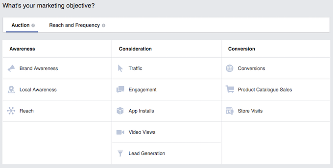 Facebook marketing objective setup