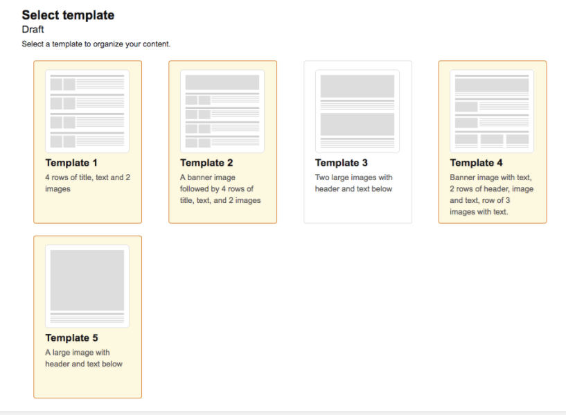 Enhanced Brand Content templates list