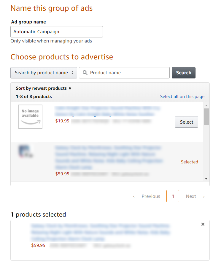 Automatic campaign ad group settings